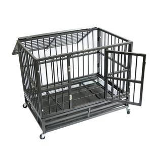 Dog Cage Crate Heavy Duty Strong Metal Kennel Playpen for Large Dogs with Four Wheels